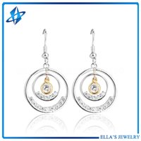 Wholesale Samples For Earrings - New Sample Round Shaped Cubic Zirconia Stone Drop Earrings for Women Rhodium Plated Crystal Rhinestone Jewelry Earrings