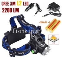 Wholesale Cree Battery Charger - AloneFire HP79 CREE XM-L2 LED 2200LMRechargeable Zoom Headlight LED Headlamp CREE + 2x18650 Battery + AC Charger+ Car charger