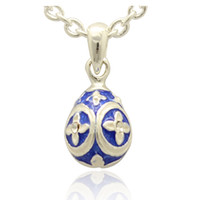 Wholesale Easter Color Egg - Mini silver color flower Faberge Egg pendant Handcrafted Enamel clear Crystal paved Russian Egg Pendant Necklace for Easter