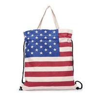 i̇ngiliz bayraklı torbalar toptan satış-Amerikan Bayrağı ABD İngiliz İNGILTERE Bayrağı Baskılı Çanta Tote Saf Pamuk Tuval İpli Çanta Çevre Dostu Üst Kolu Alışveriş Çantası Toptan