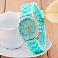 Wholesale Shadow Style Watches - 2016 Promotion Casual Lovers' Orange Brown New Shadow Style Geneva Watch Rubber Candy Jelly Fashion Men Wamen Silicone Quartz Watches 100pcs