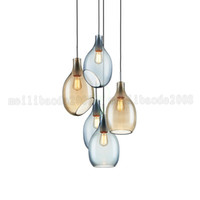 BE170 Modern North European Home Fashion Simple Designer Room Cognac / Blue Glass Restaurant Chandeliers Restaurant Pingente Luminárias Iluminação
