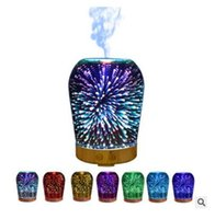 LED luces 3D Difusor de aceite Ultrasonic Cool Mist Aromatherapy Humidifier 16 Color que cambia Starburst Light Lamp 100ML Humidificador 8 Estilos