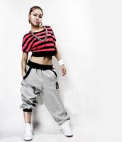 Wholesale Dancer Hip Hop - Wholesale- New Fashion Hip Hop Sports Dancer Jeans Pants Unique Casual Loose Trousers Red Gray Black Size M-XXL zx*E2742#S8
