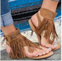 sandalias planas sexy pedreria al por mayor-¡Caliente! sandalias de mujer sexy borla moda gladiador sandalias planas rhinestone mujeres zapatos de verano mujer deslizarse en la mejor calidad