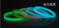 Wholesale Silicone Wristband 5mm - Wholesale 20pcs lot Silicone Bracelet 5mm Children Wristband Paintless Solid Color Luminous bracelet Accessories