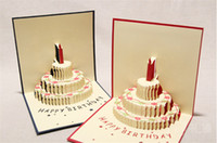 tarjeta de pastel emergente al por mayor-NUEVO llega el pastel de cumpleaños Salto de regalo 3D Pop UP Tarjetas de bendición 3D Papel hecho a mano plateado Creativo Tarjetas de feliz navidad D066