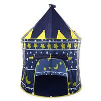 château jouet bleu achat en gros de-Tente pliante de maison de jeu rose bleue bleue extérieure portative de maison de jouet d'intérieur portative de jouet d'enfants Cubby pour des enfants / enfants