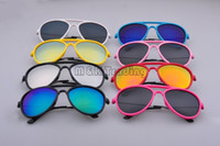 Wholesale Steel Wire Frame - New Pilot Kids Sunglasses Plastic Frame Steel Wire Temples Pilot Mirror Lenses Baby Sun Eyewear Mixed Colors in 20pcs