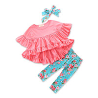 Wholesale Candy Headbands - Everweekend Girls Ruffles Cotton Outfits with Headbands Tees and Pants Outfits Candy Color Cute Children Autumn Spring Clothing