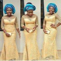 sarı tül balo elbiseleri uzun toptan satış-Sarı Seksi Aso Ebi Abiye giyim Nijerya Tül Mermaid Stil Illusion Boyun Çizgisi Uzun Örgün Törenlerinde Balo Elbise Parti Elbiseler