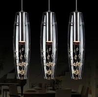 lustre en cristal livraison gratuite achat en gros de-Livraison gratuite 2015 nouvelle personnalité créatrice restaurant LED lampe lustre en cristal moderne minimaliste bar bureau lampe repas suspendu lampe