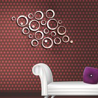 Wholesale Paper Grinding - 2016 DIY 3D Acrylic Mirror Ring Real Modern Acrylic Mirror 3D Wall Stickers Promotion Home Decoration Back Ground Wall Decor