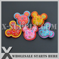 Wholesale Wholesale Hairbow Resins - Free Shipping Mickey Mouse Flat Back Resin Cabochon with Pin Brooch for Hairbow,Headband,Girl Decorations,Phone Case