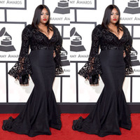 Wholesale Satin Beaded Long Formal Dress - 2016 Grammys Plus Size Formal Dresses V Neck Long Sleeves Beads Mermaid Prom Dress Lace Applique Sweep Train Spring Black Evening Gowns