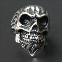 Wholesale Fashion Jewelry Beards - 3pc lot Size 8-13 Newest Design Punk Skull Ring 316L Stainless Steel Top Quality Fashion Jewelry Beard Skull Ring