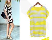 Wholesale Shirt Chiffon Neon - 2XL Neon Yellow Rose Striped Mini Dress Casual Loose Big Size women Tee Shirts vestidos Blusas 2015 Summer Spring Tshirts Tops