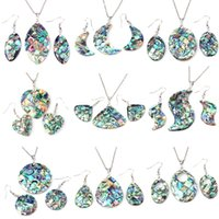 Wholesale Shell Pendant Necklace Earrings - Women Ladies Beautiful Natural Abalone Shell Dangle Earrings Reiki Pendulum Pendant Sets Charms European Fashion Jewelry 9X Mix
