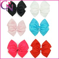 "Wholesale Grosgrain Bows For Sale - Hot Sale 18Pcs Lot 5"" Solid Grosgrain Ribbon Stacked Hair Bows For Girls High Quality Boutique Hair Clips Children Hair Accessories"