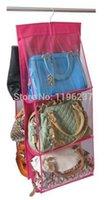 Wholesale Hanging Pocket Organiser - Fashion 6 Pocket PVC Transparent Storage Bag Organizador Black Wardrobe Closet Pouch Hanging Purse Organiser A5