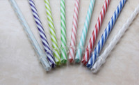 Wholesale Drinking Plastic Straw - Wholesale-2015 (100 Pc Lot) Reusable Biodegradable Distored Color Beverage Hard Plastic Stripe drinking Straws With 1 Free Straw Brush