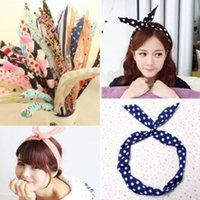 Wholesale Korean Style Scarves - Korean Women Cute Bunny Rabbit Ear Ribbon Headwear Metal Wire Scarf DIY Hair Head Band Colorful Style