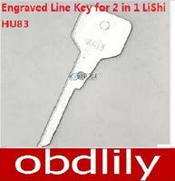 Wholesale Locksmith Wholesale Key Blanks - 20pcs Original Engraved Line Key for 2 in 1 LiShi HU83 scale shearing teeth blank car key locksmith tools supplies