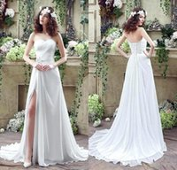 Wholesale bohemian sequin chiffon dress - 2016 Beach Flow Chiffon High Split Wedding Dresses Sweetheart Pleats Beaded Sequins Sexy Bohemian Bridal Gowns with Sweep Train CPS238