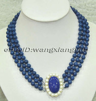 3Rows 8mm blu lapis lazuli Gemstones rotonda perline Hand Knotted Necklace