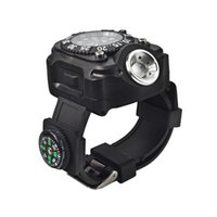 Wholesale Innovative Led Watch - New Outdoor Innovative High Quality ABS Material Smart Wearable Flashlight CREE Led Wrist Torch With Watch and Compass.