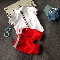 Wholesale Mandarin Collar Shirts Wholesale - Summer Boy Set Fashion Kids White Shirt Red Shorts Children Clothes Set(no belt) 2 pcs