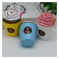 детские чашки для мороженого оптовых-Новое прибытие мороженое чашки кофе рукой Squishies мягкими игрушками медленно растет милый малыш игрушки ароматизированные мягкие тискать подарок телефон ремни Бесплатная доставка
