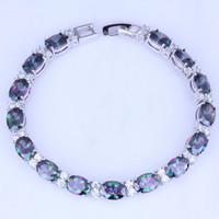 Wholesale Mystic Topaz Sets - Wholesale & Retail Oval Mystic Topaz & Cubic Zirconia Silver Bracelets Chain Length 21 CM Free Gift Bag B0046