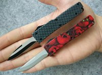 Wholesale Plain Stainless Steel - 5 styles Cncostco Mini Double action Out the Tactical knife 440 stainless steel Single blade Plain Pocket knife knives Red skull   Gray