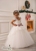 Wholesale Lace Ivory Christening Dresses - Off Shoulder Lace Sash Ball Gown Net Baby Girl Birthday Party Christmas Princess Dresses Children Girl Party Dresses Flower Girl Dresses