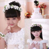 zarif şapkalar toptan satış-Yeni Zarif Çocuk Kız Çiçek Bandı Bilezik Güzel Çiçek Garland Düğün Şapkalar Saç Takı Bileklik Pembe Beyaz