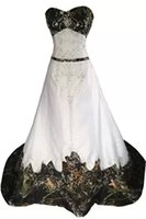Wholesale Pink Camo Plus - 2015 Camo Wedding Dresses New A Line Beaded Lace-up Backless Sweetheart Embroidery Court Train Camo Bridal Gowns Plus Size Real Image