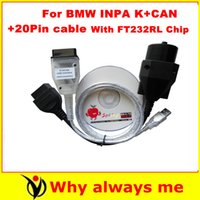 Wholesale Bmw D Can - 2015 BMW Inpa K Ediabas with FT232RL Chip+D-can Diagnostic Cable BMW OBD to USB interface+ 20pin cable for bmw diagnostic tool Free Shipping