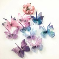 Wholesale Butterfly 3d Diy - Mix 100pcs =10 designs 3D Thin Double Layers Veil Crystals Butterfly DIY Jewelry Findings for Clip Earrings Hairband Butterflies Art Decor