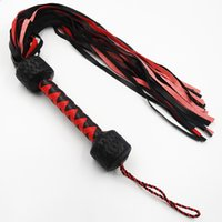 Wholesale Whip Spank Hand - Leather Flogger Adult BDSM Games Play Red Black Softer Pure Hand-Woven 58cm Long Whip Belt