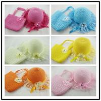Wholesale White Summer Baby Hat - Freeshipping Girls Kids Beach Hats with Bags Flower Straw Hat Cap Tote Summer Sun Hat Children Baby Handbag Bag Suit