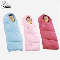 Wholesale Receiving Fleece Blankets - Gold Hands Winter Autumn Baby Sleeping Bag Cut Receiving Blankets Bedding Thicker Cute Cotton Fleece Warm For Mommy Hold 18-24M