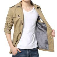 Wholesale Men Single Breast Coat - FG1509 Men Trench Coat Outdoor Sobretudo Masculino Casual Jacket Militar Army Fashion Long Slim Fitness Outerwear ZHY1950