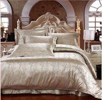 Wholesale King Silk Pillow Cases - Wholesale-4pcs silk bed clothes king size silk bedding set satin silk comforter cover satin queen size bed linen pillow cases 5086