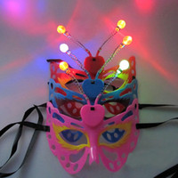 Wholesale Holloween Masks - Light Up Flashing Blinking LED Butterfly Mask Adult Kids Party Women Girls Holloween Carnival Decor Fun