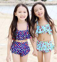 Wholesale Cute Blue Girls Bikinis - 2016 Fashion children's bikini swimsuit girls cute cherry printed bikini swimwear 3 pcs sets kids beach swimsuit spa swimwear 7306