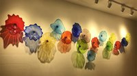 Wholesale Decorative Hang Wall - Custom Wall Blown Glass Decorative Flowers for Wall Decoration Dale Chihuly Style Multicolor Glass Hanging Plates Wall Art