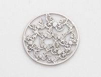 Wholesale Hollow Butterfly Charms - 20PCS lot 22MM Silver Plated Round Hollow Butterfly Floating Window Plates Fit For 30mm Magnetic Memory Glass Locket
