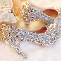 Silver Wedding Shoes Clear Rhinestone Platform Cerrado Toe 3
