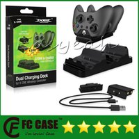 Wholesale Xbox Controller Cable - DOBE Dual Charging Dock Controllers Charger & 2 Rechargeable Batteries Charging Cable Charge Kit For Xbox One With Retail Box